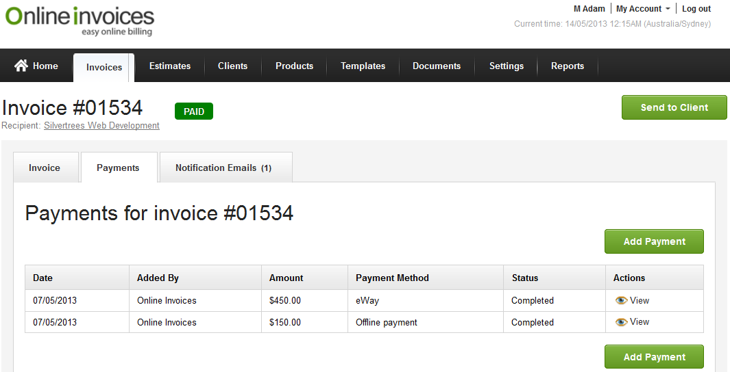 pay invoices by installments