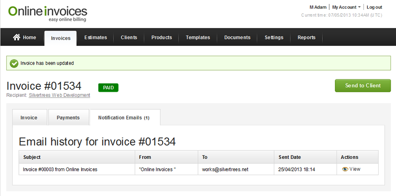 online invoice - notification emails your client