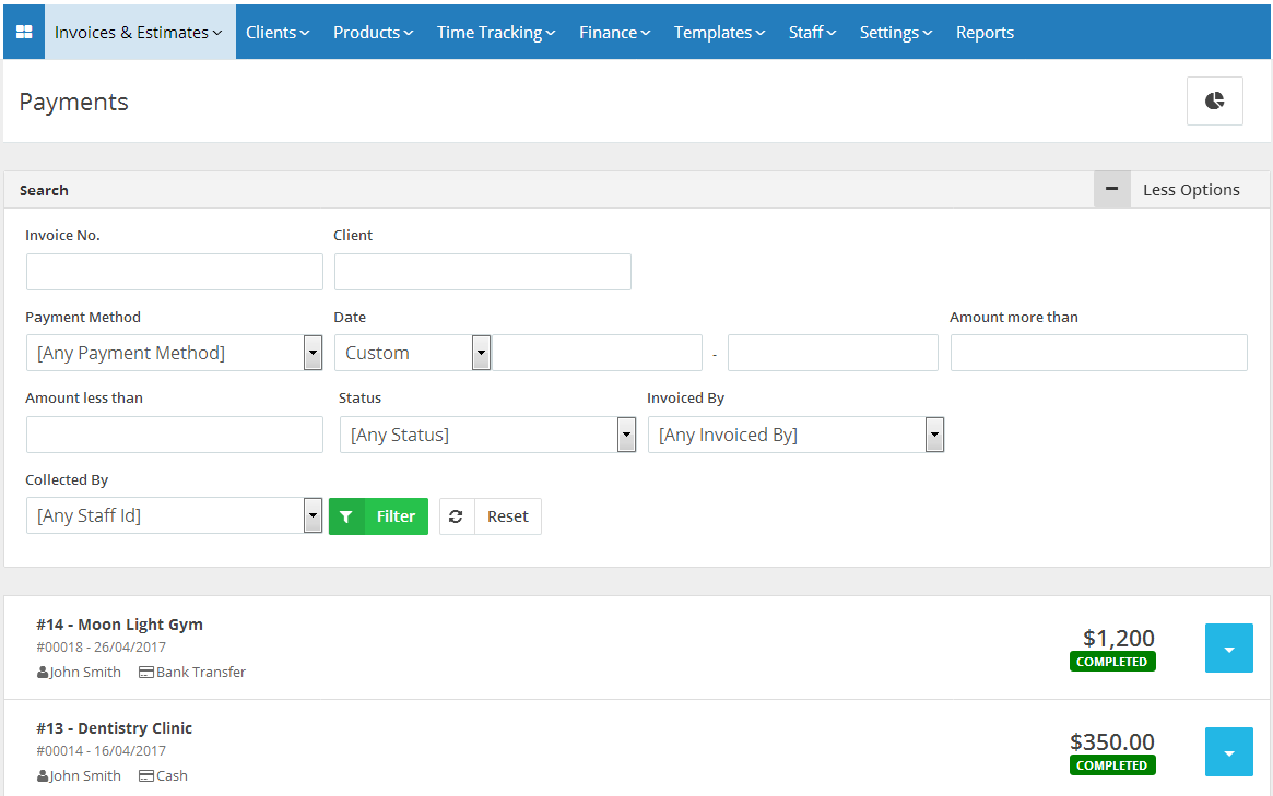 View And Manage Invoice Payment History Online Billing Software - Invoice payment software