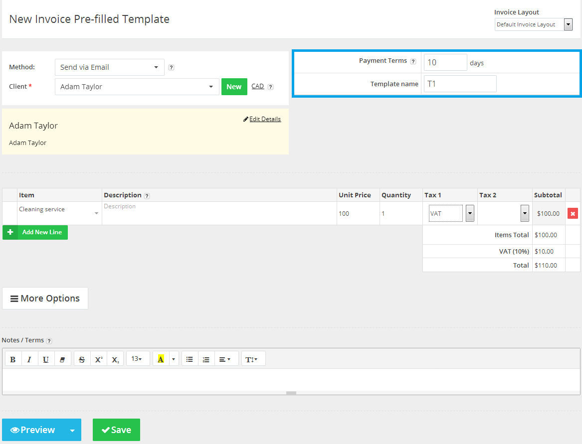 new-invoice-prefilled-templates-page