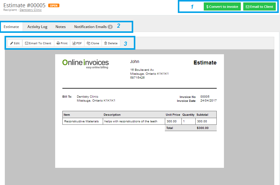 Managing Estimates On The Online Invoices System Online Billing - Online invoice system