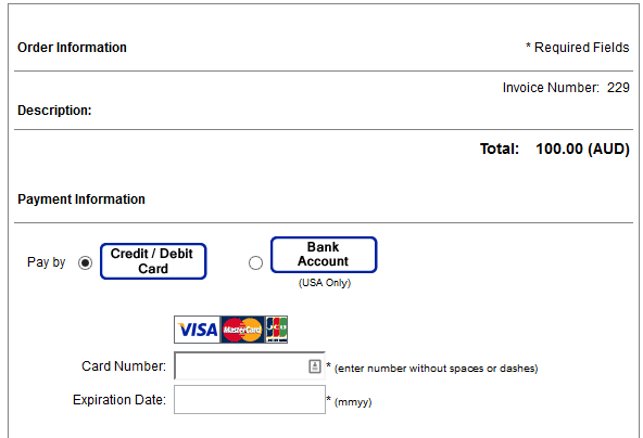 You Will Be Directed To The Authorize.net Payment Page As In The Figure  Below:  How To Invoice A Client
