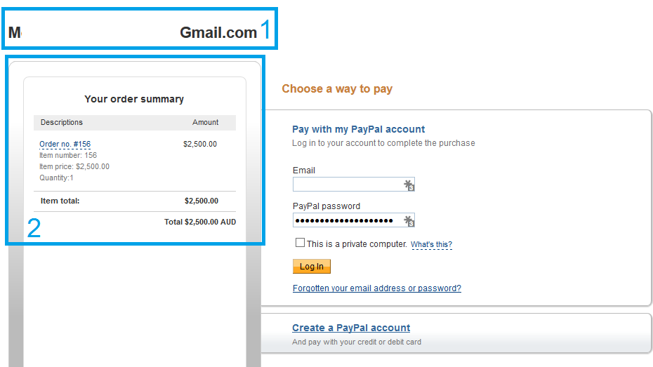 PayPal page