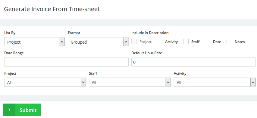 Invoice from time-sheet