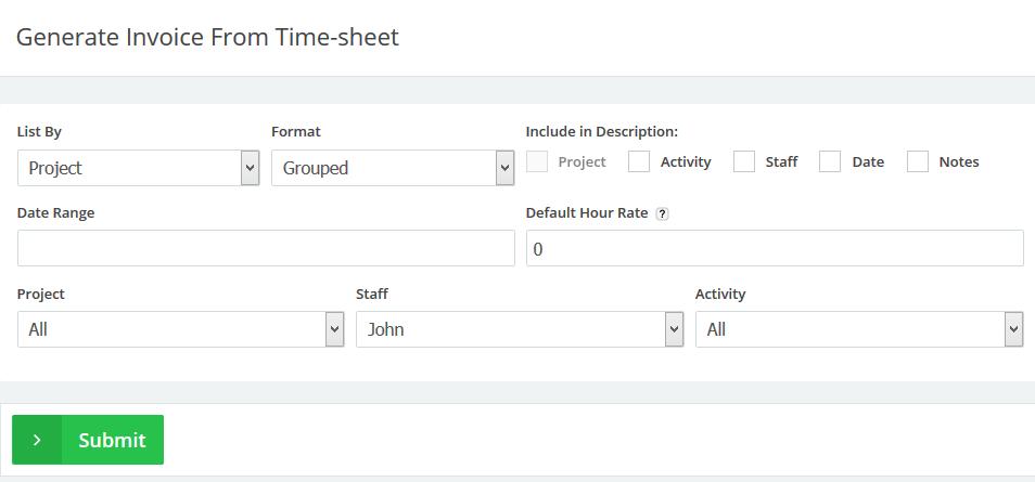 staff generate invoice