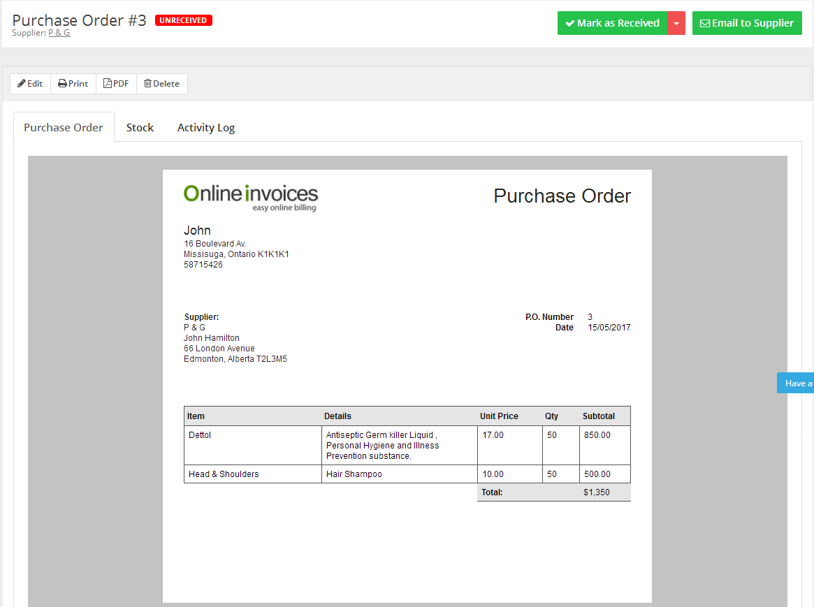 view purchase order